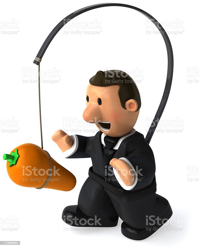 Comic of a man chasing a carrot that is tied to his back royalty-free stock photo