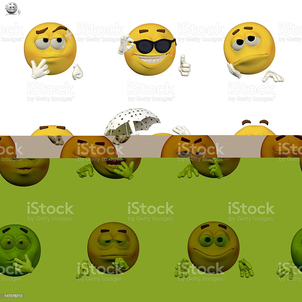 Comic of various emoticons in a set stock photo