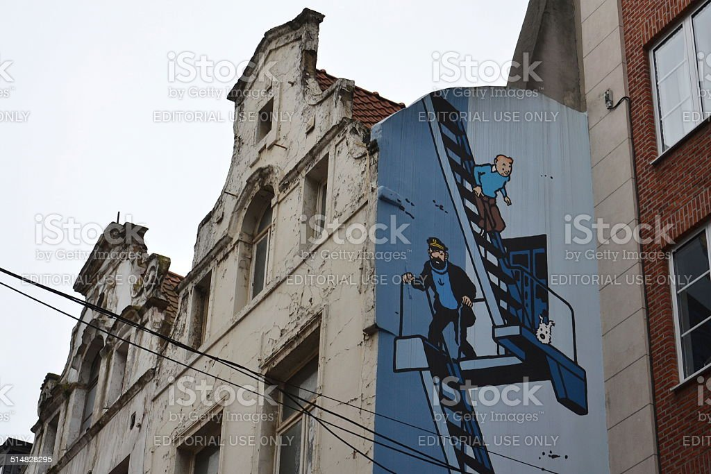 Comic strip mural painting in Brussels, Belgium stock photo