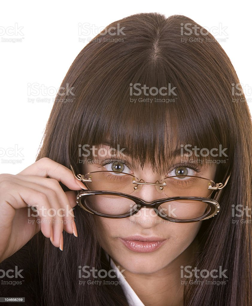 Comic woman in two spectacles. stock photo