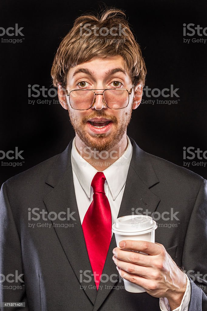 Comical Nerdy Businessman on Black Background, Red Tie royalty-free stock photo
