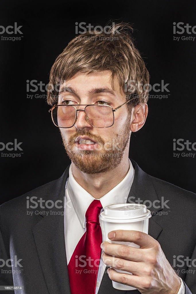 Comical Nerdy Businessman on Black Background, Sleepy royalty-free stock photo