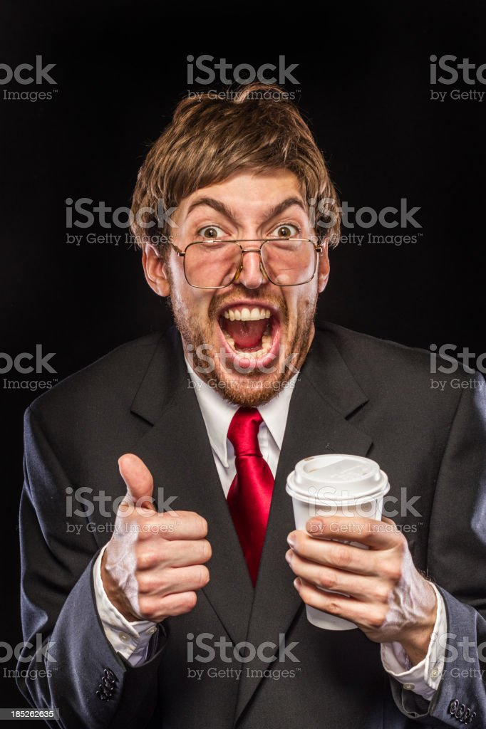 Comical Nerdy Businessman on Black Background, Thumbs Up stock photo