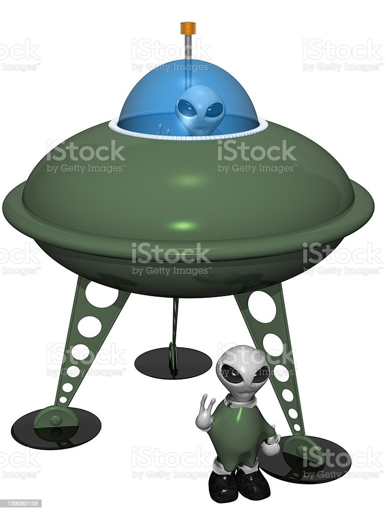 Comical Saucer & Aliens (Isolated) royalty-free stock photo