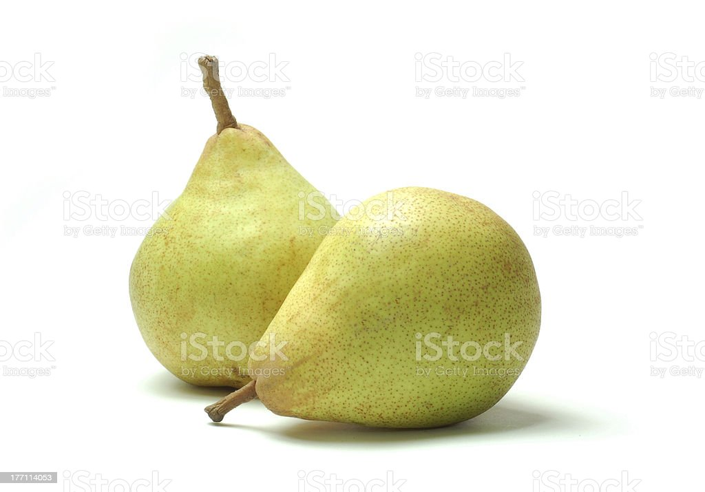 Comice pears on white background stock photo
