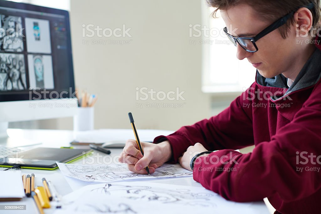 Comics artist stock photo