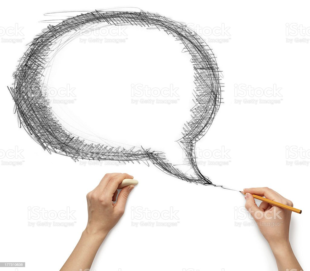 comics bubble, hands with pencil and rubber royalty-free stock photo