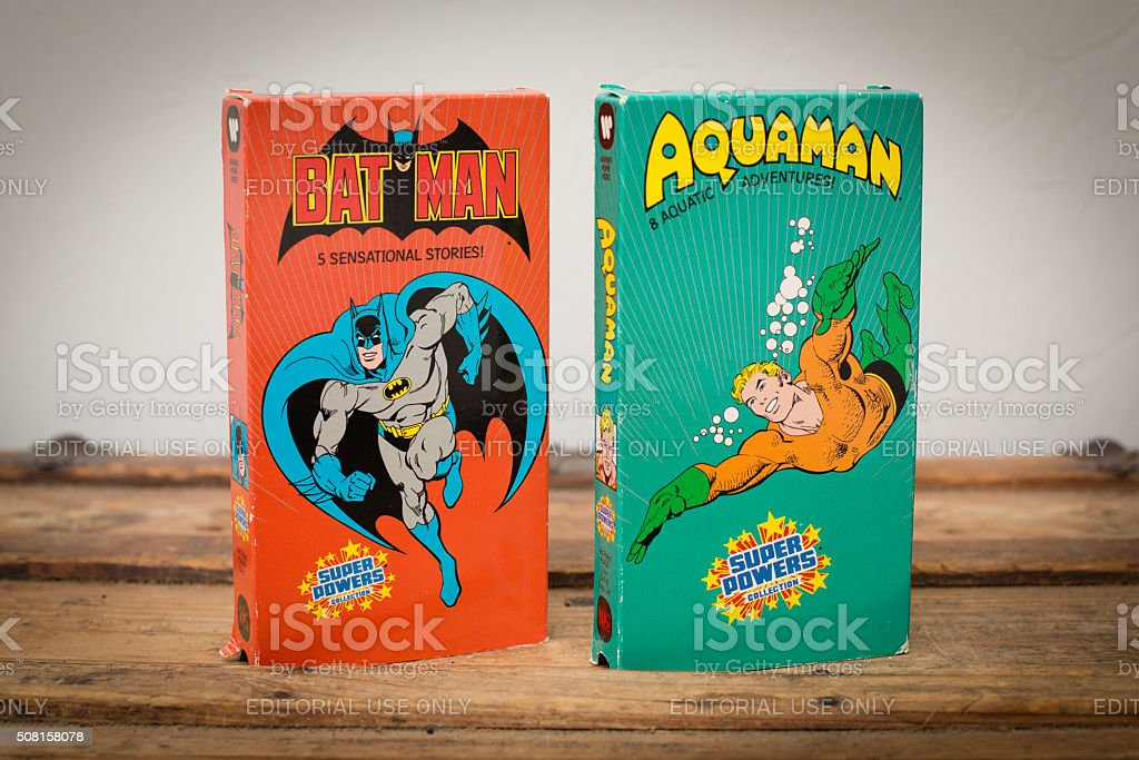 DC Comics VHS Movie Tapes featuring Batman and Aquaman stock photo