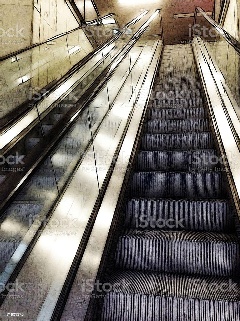 comics-style illustration of escalators royalty-free stock photo
