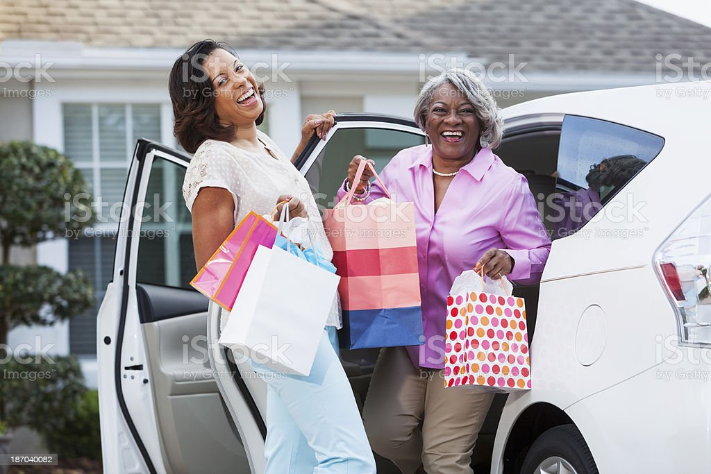 Coming home from shopping trip royalty-free stock photo