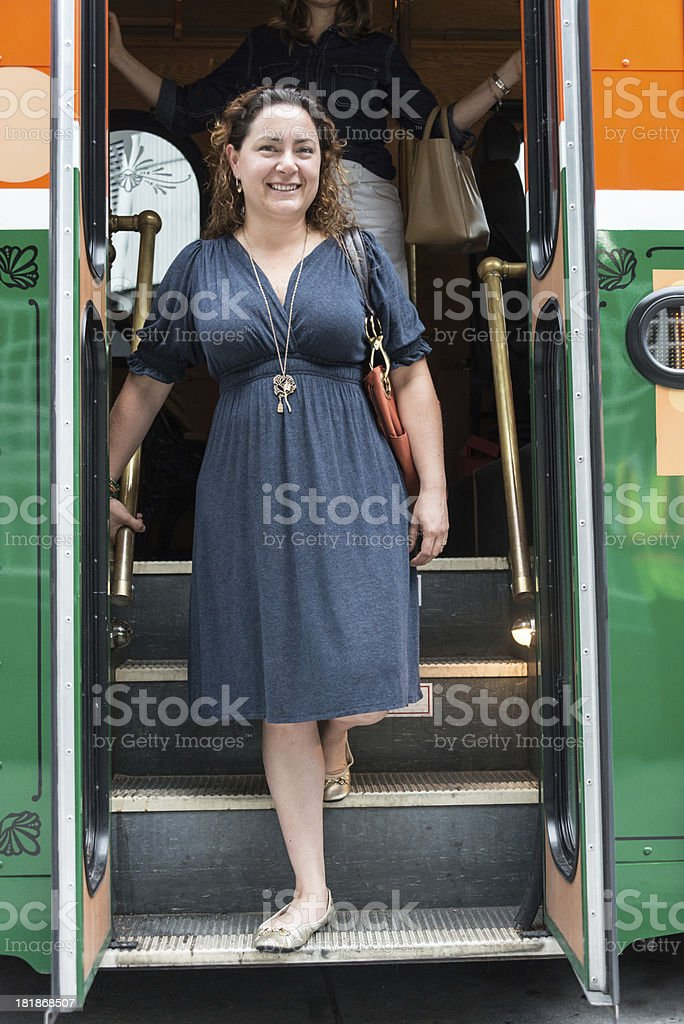 Coming out of the bus royalty-free stock photo