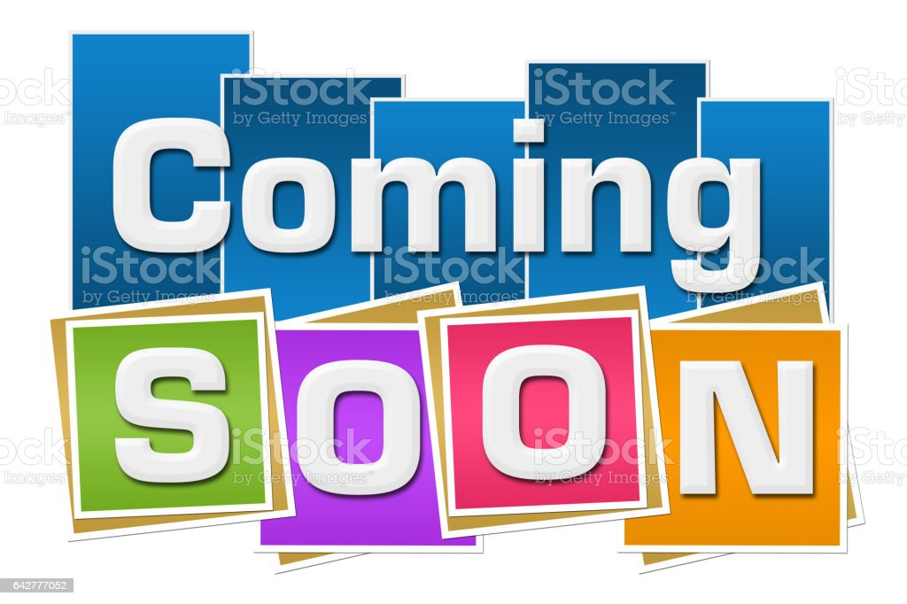 Coming Soon Colorful Squares Stripes stock photo