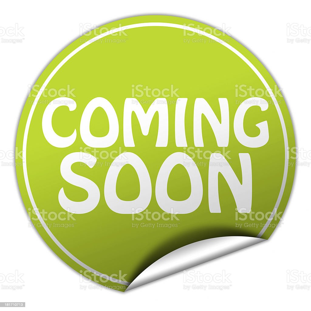 coming soon green sticker stock photo