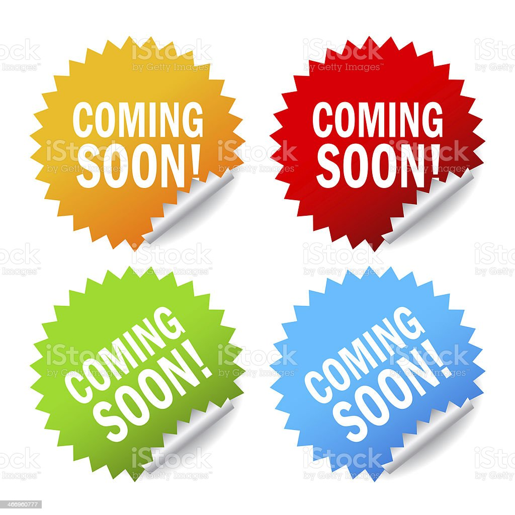 Coming soon labels set royalty-free stock photo