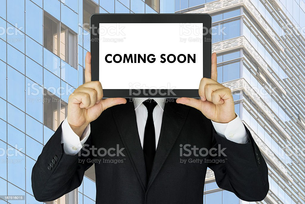 Coming Soon, message on digital screen. stock photo
