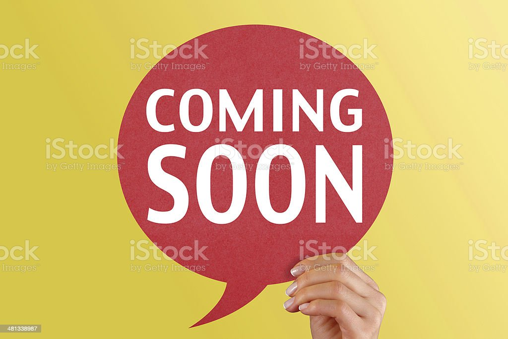 Coming Soon on red speech bubble stock photo