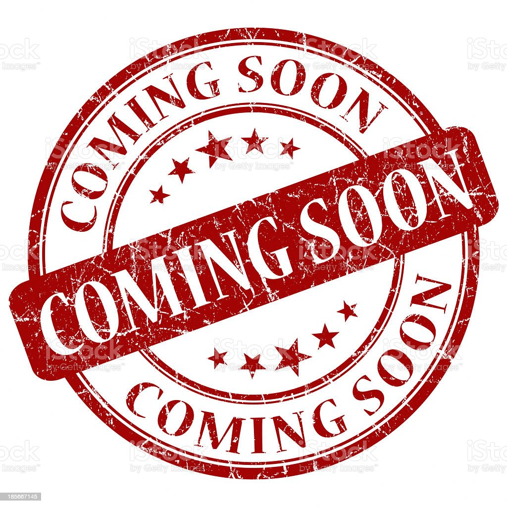 coming soon red round grunge seal royalty-free stock photo