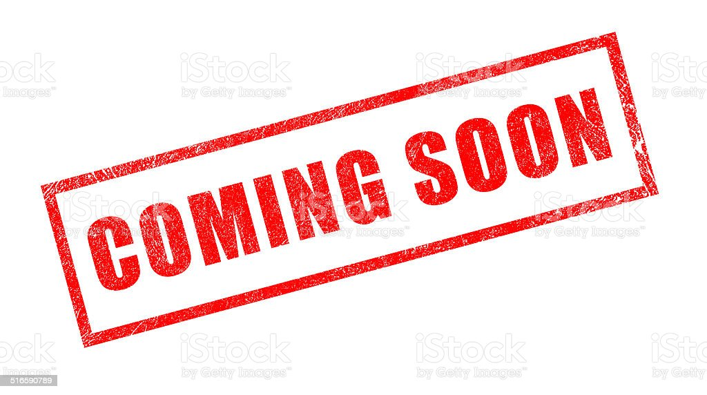 Coming Soon Red Rubber Stamp stock photo