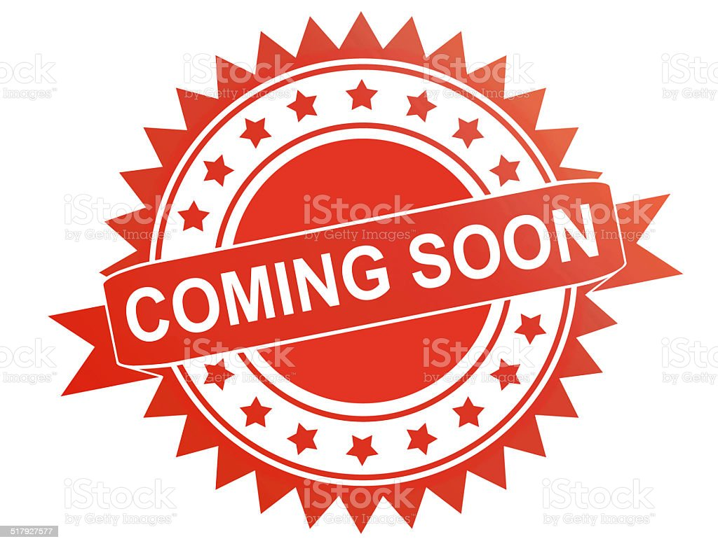 'Coming Soon' Rubber Stamp stock photo