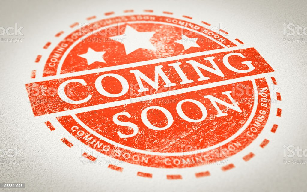 Coming Soon Stamp stock photo