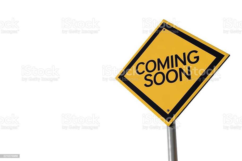 Coming soon yellow highway road sign stock photo