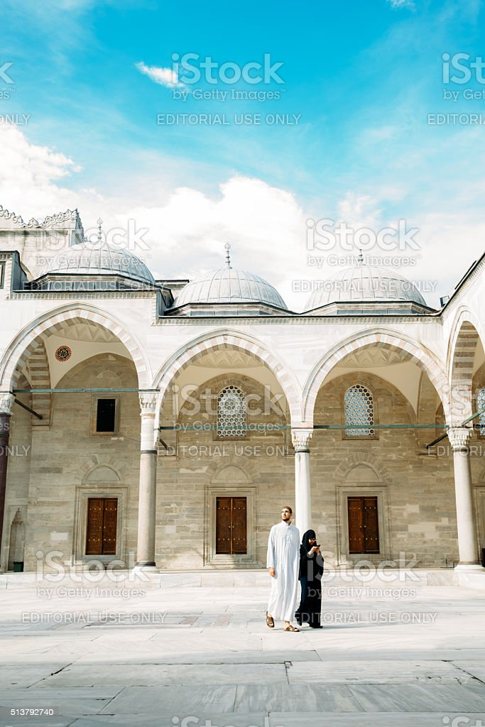 Coming to a prayer at at Süleymanniye Mosque stock photo