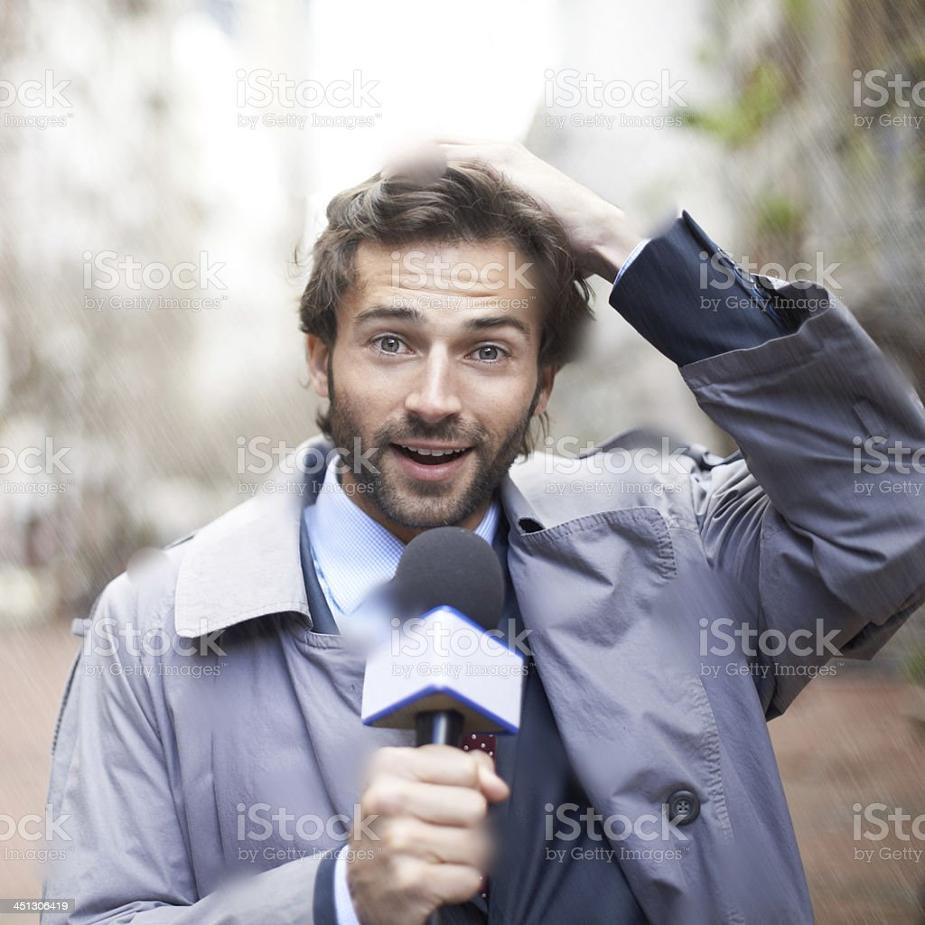 Coming to you live on the scene... stock photo