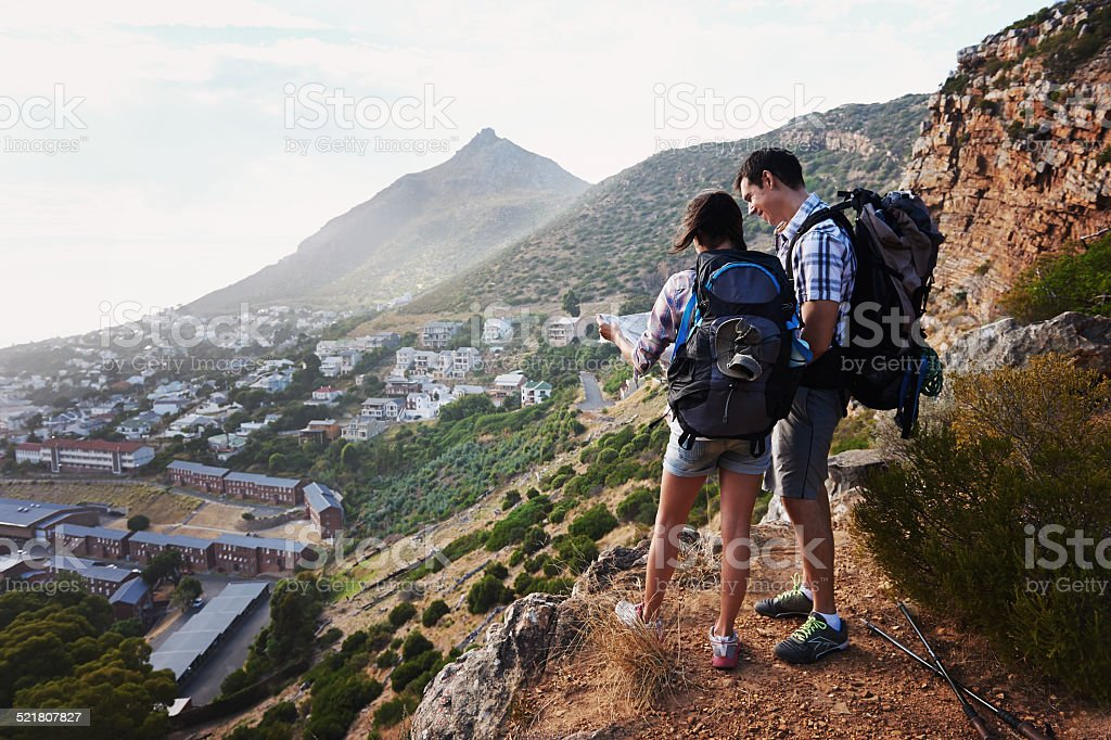 Coming up with a route for their destination stock photo
