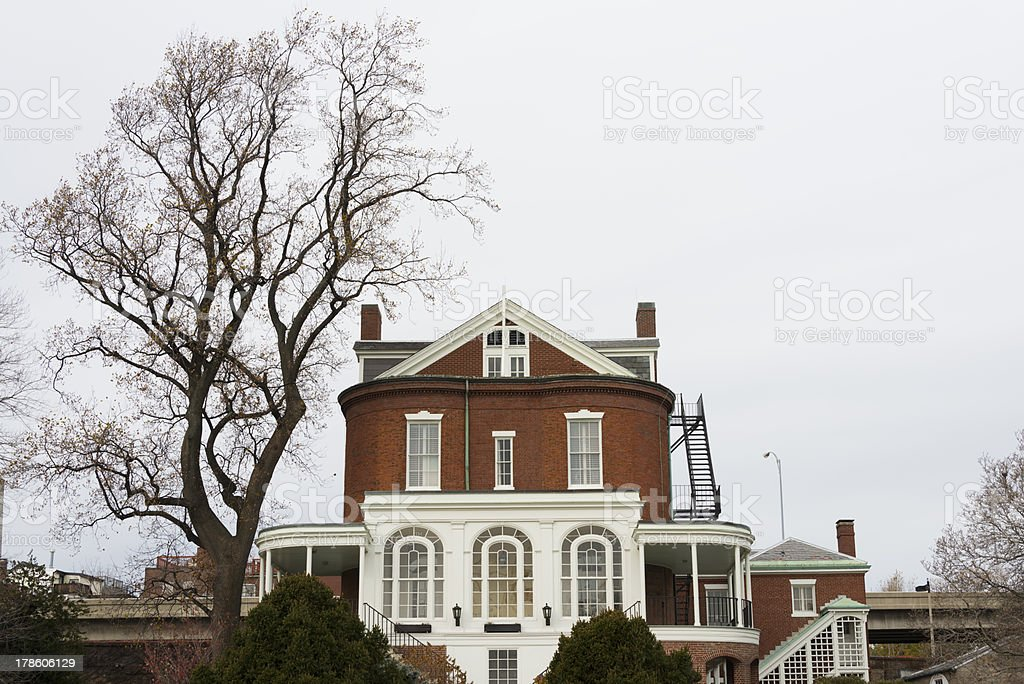 Commandant's House and tree in Boston royalty-free stock photo