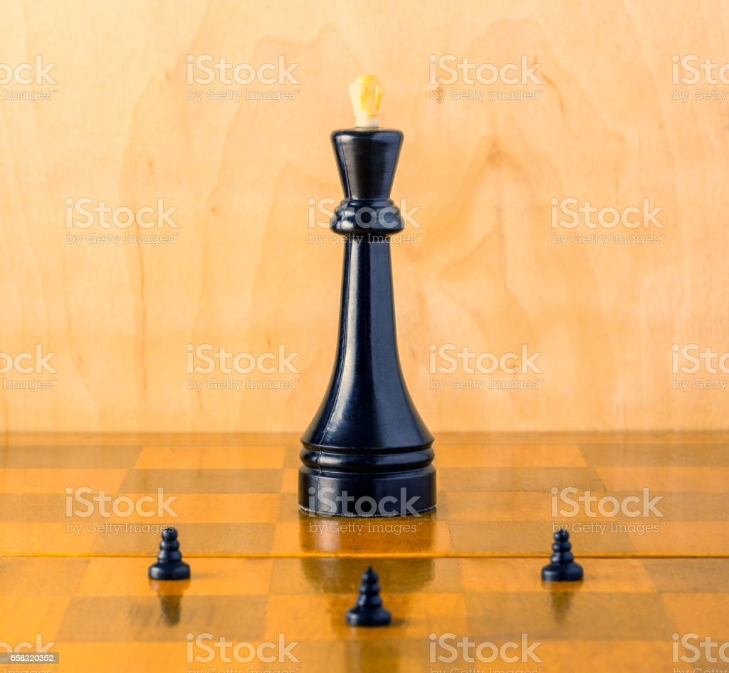 Commander-in-chief on the chessboard stock photo