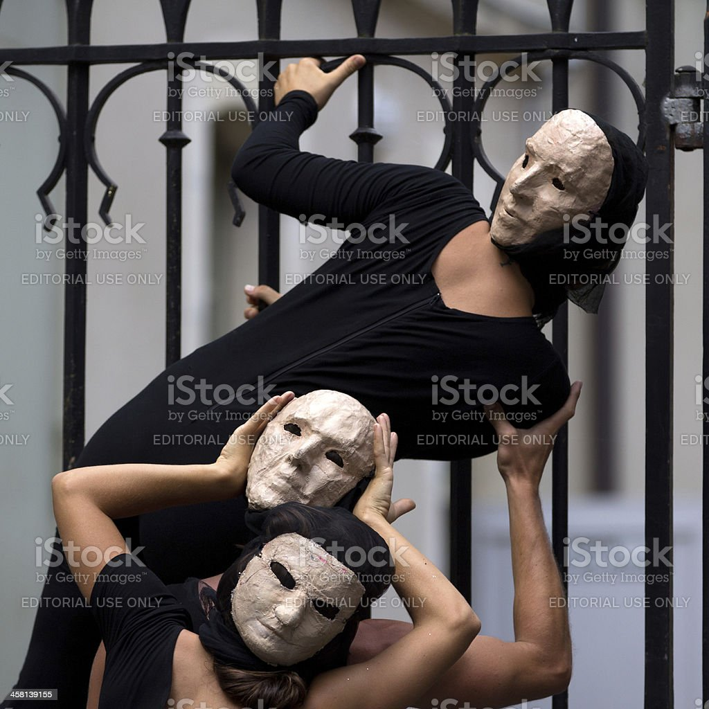 Commedia dell Arte in the street. royalty-free stock photo