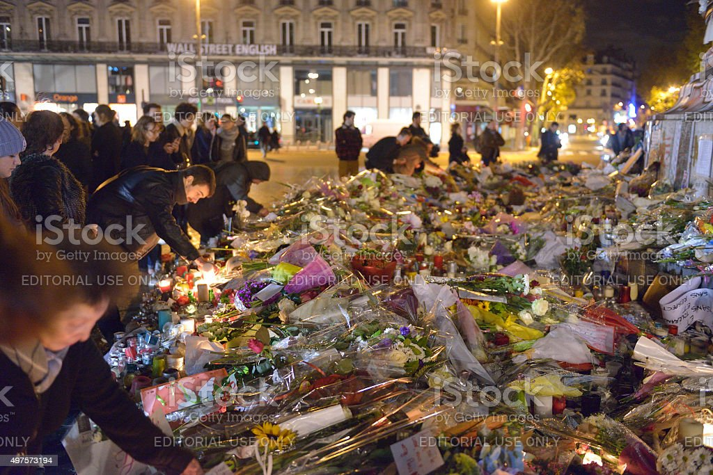Commemoration against  terrorist attacks (on November 13th, 2015)  in Paris. stock photo