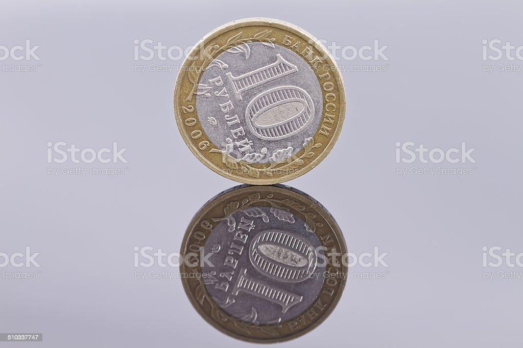 Commemorative bimetallic coin 2006 value of 10 rubles stock photo