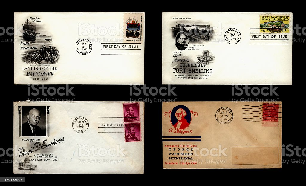 US commemorative envelopes stock photo