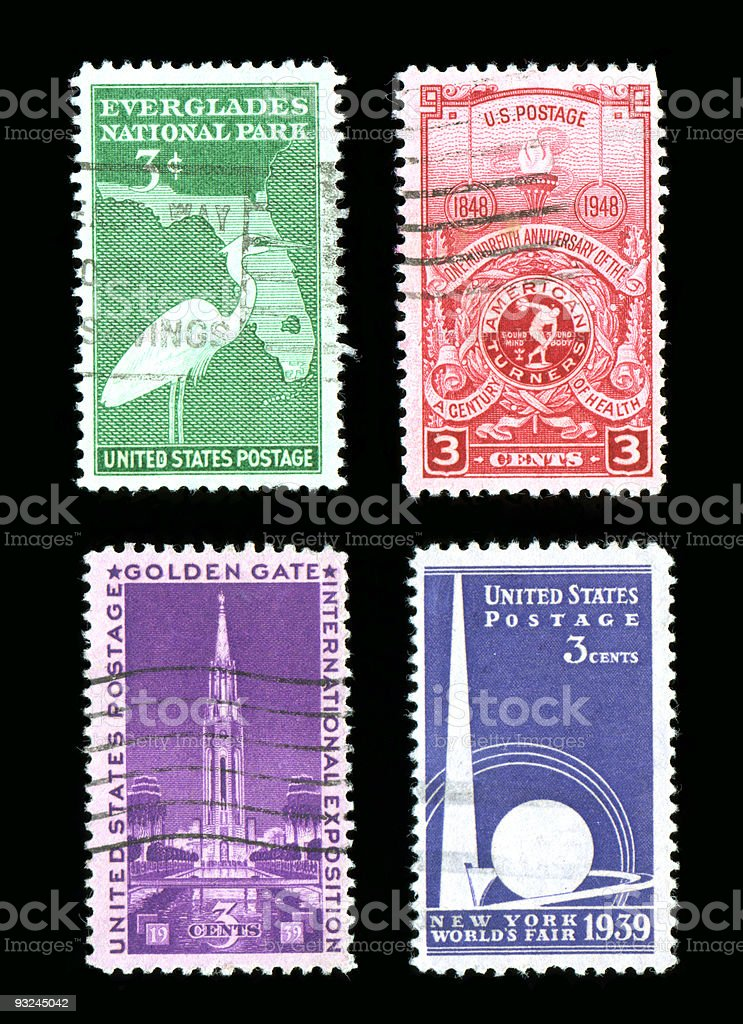 US Commemorative Postage Stamps stock photo