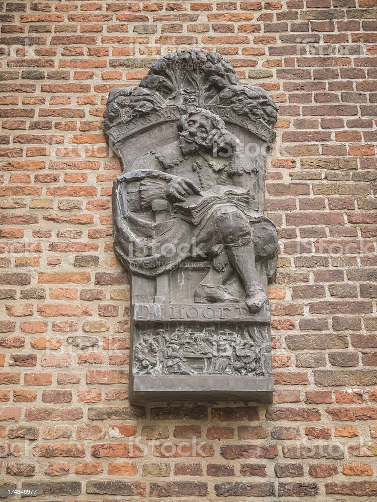 Commemorative sculpture for PC Hooft at Muiden Castle royalty-free stock photo