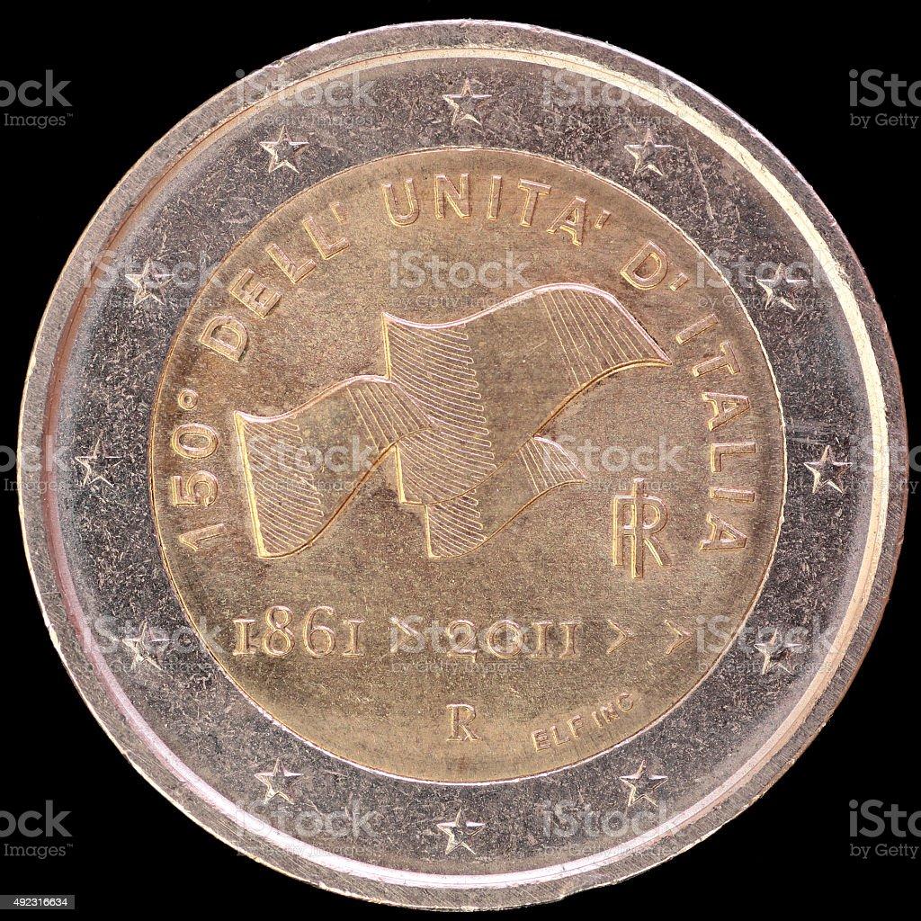 Commemorative two euro coin celebrating italian unification, Italy 2011 stock photo