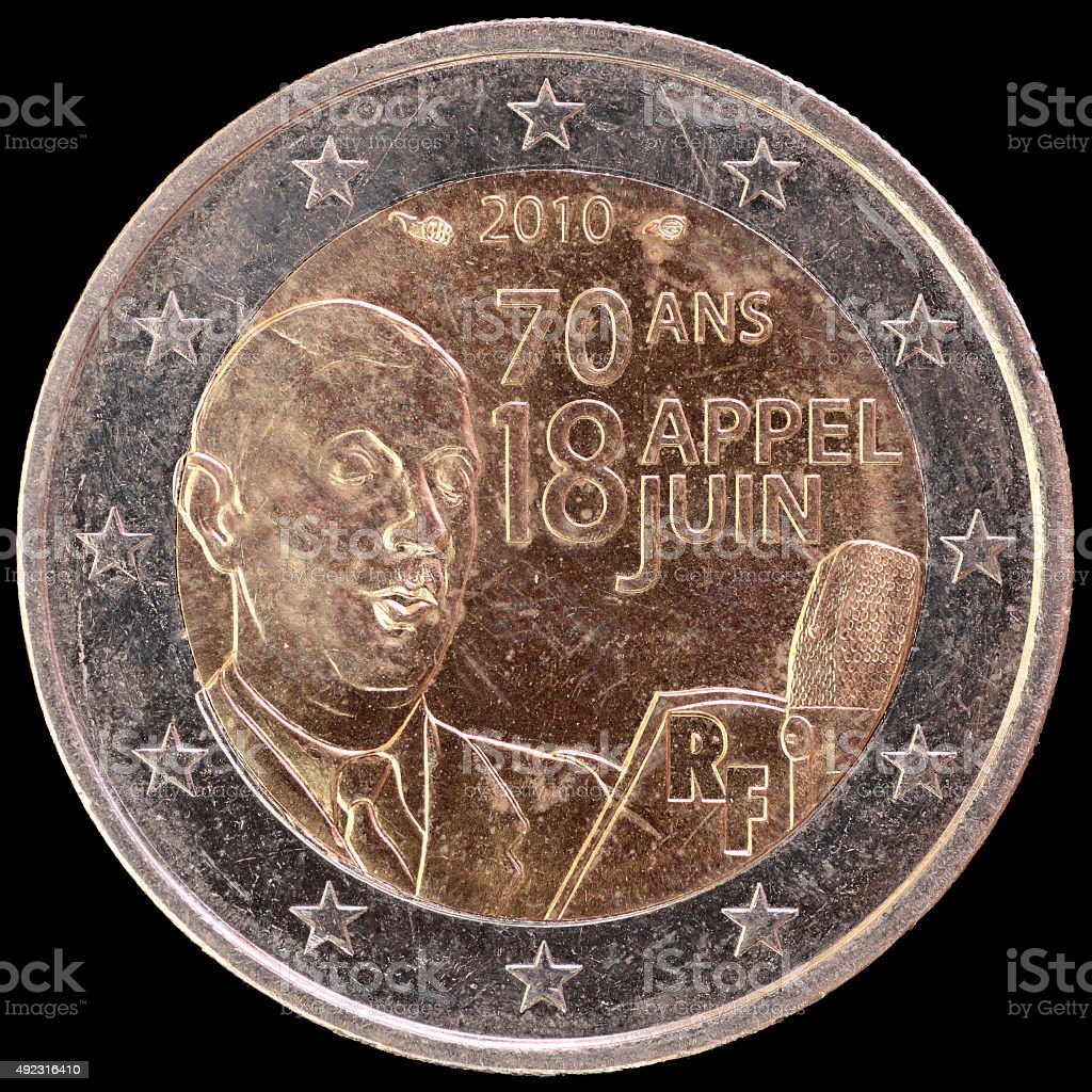 Commemorative two euro coin depicting General de Gaulle, France 2010 stock photo