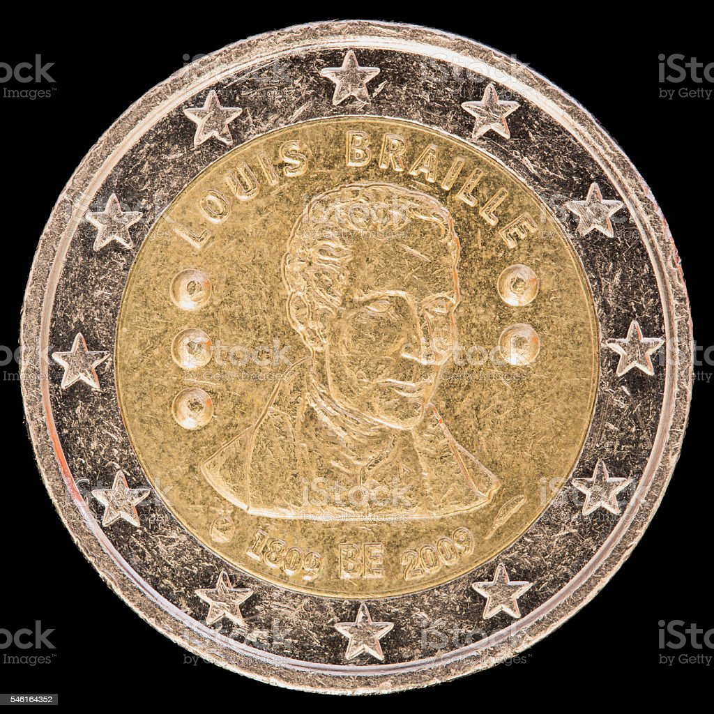 Commemorative two euro coin issued by Belgium in 2009 stock photo