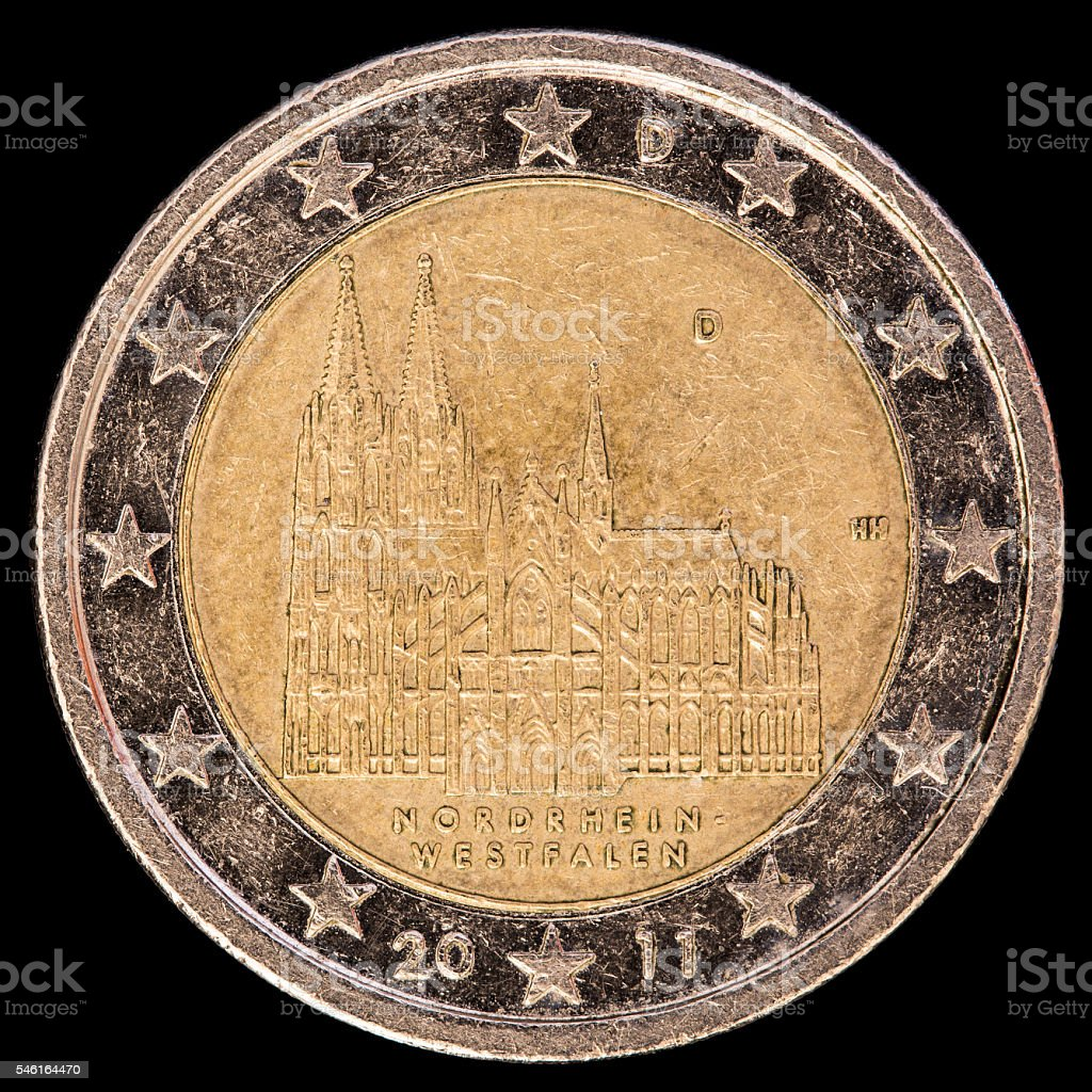 Commemorative two euro coin issued by Germany in 2011 stock photo
