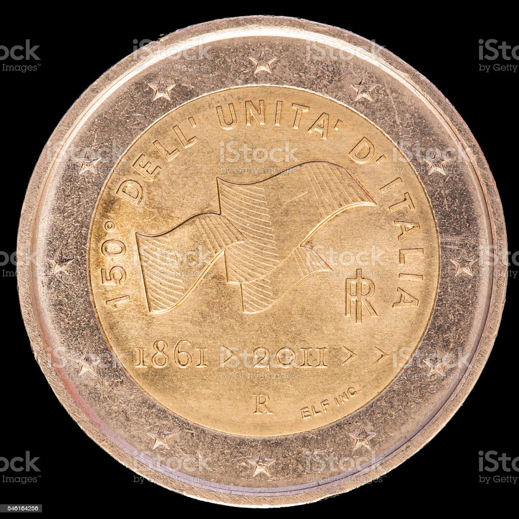 Commemorative two euro coin issued by Italy in 2011 stock photo
