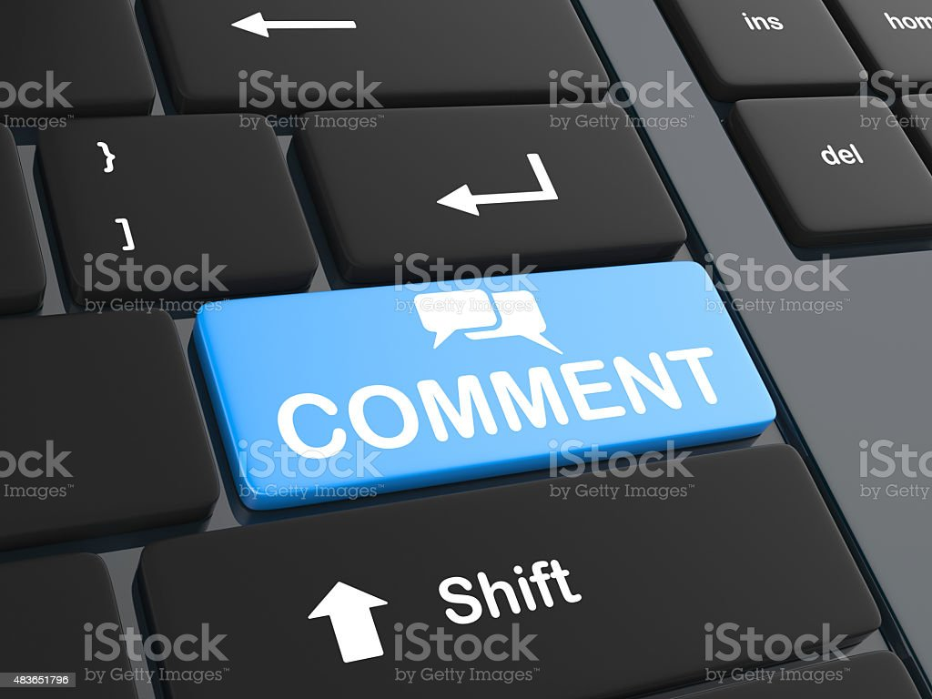 Comment key stock photo