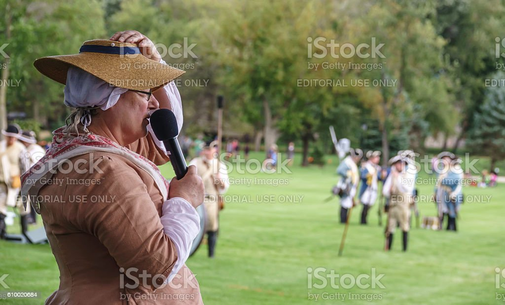 Commentator at war reenactment stock photo