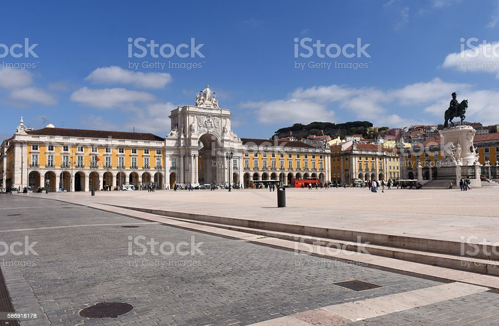 Commerce Square in Lisbon, Portugal stock photo
