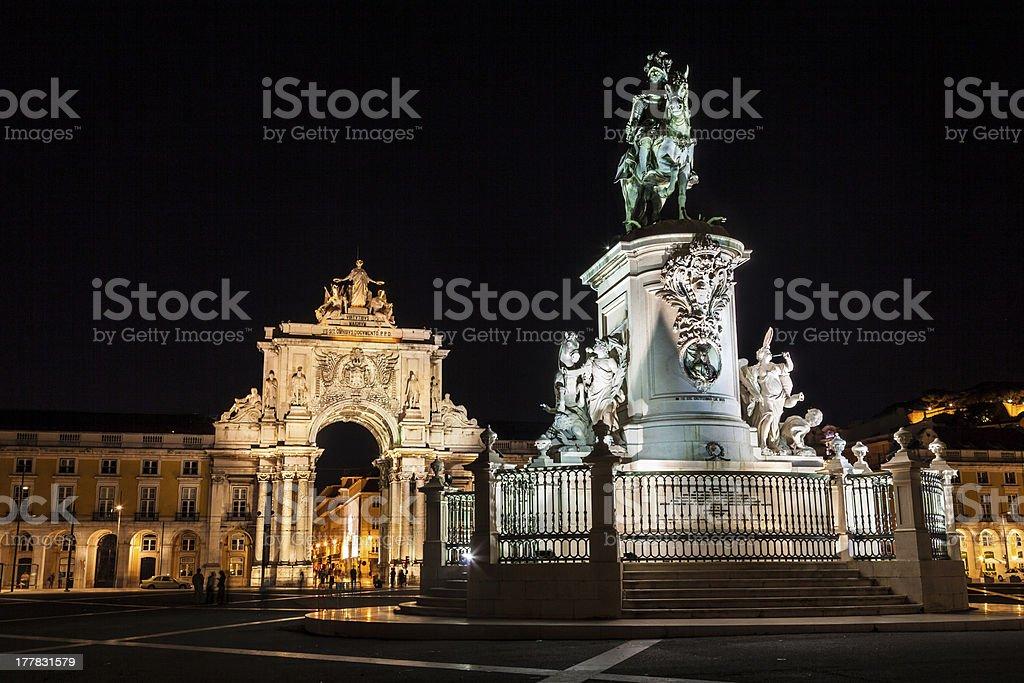 Commerce square of Lisboa at night, Portugal stock photo