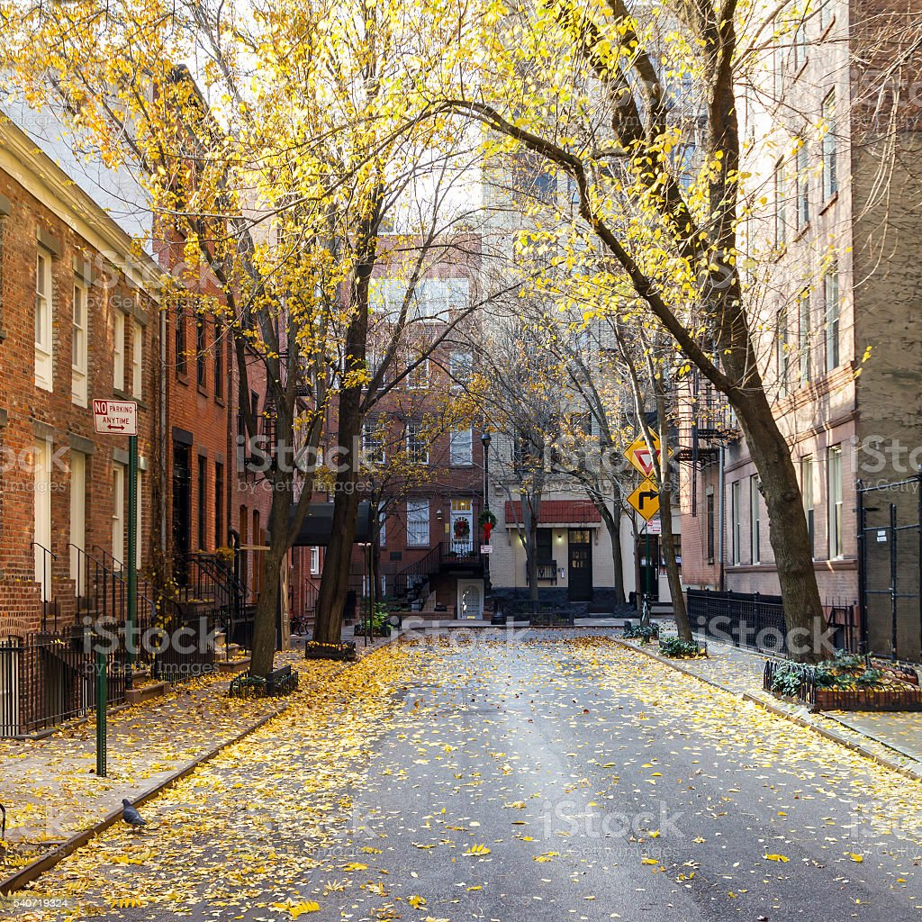 Commerce Street in Greenwich Village Manhattan, New York City stock photo