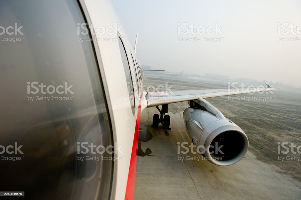 Commercial aircraft engine stock photo