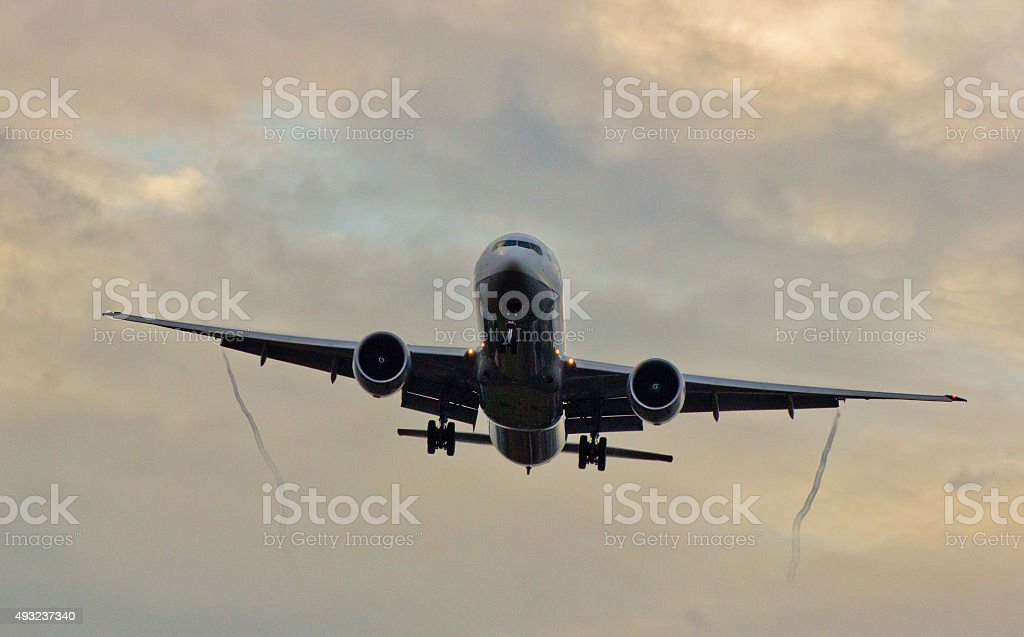 Commercial Aircraft Landing stock photo