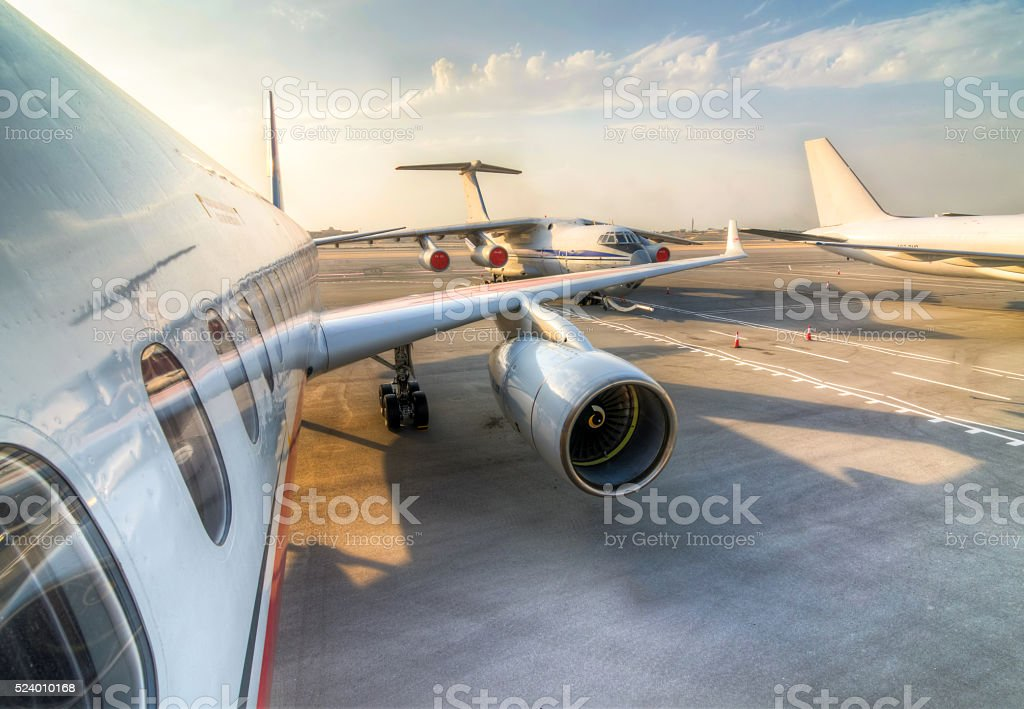 Commercial Aircraft Parking stock photo
