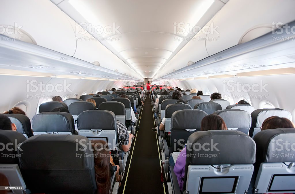 Commercial airliner cabin. stock photo